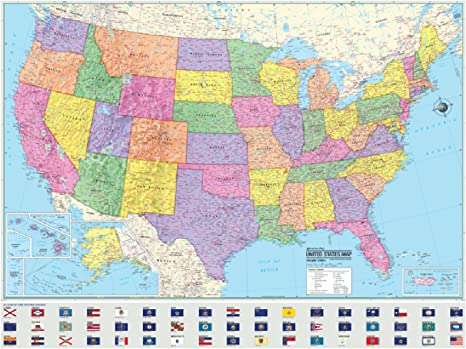 Advanced Political United States Laminated Rolled Map