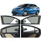 Autofact Half Magnetic Window Sunshades/Curtains For Honda Amaze (2013 To 2017) [Set Of 4Pc ,Rear 2Pc Full With Zipper] (Black)