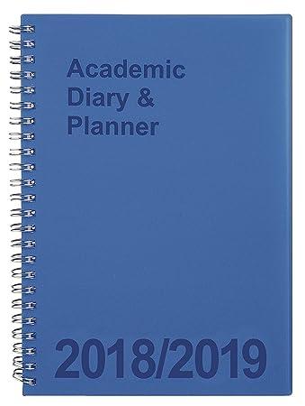 b89b79de3404 A5 Academic Diary 2018 2019 Week-To-View Spiral Bound (Blue)  Amazon ...