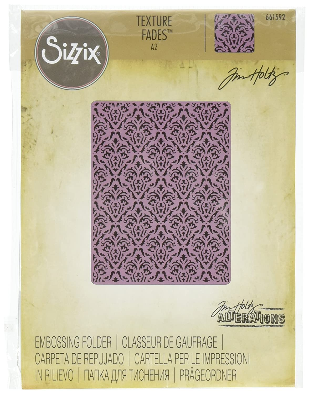 Sizzix 661592 Texture Fades Embossing Folder, Damask by Tim Holtz Ellison