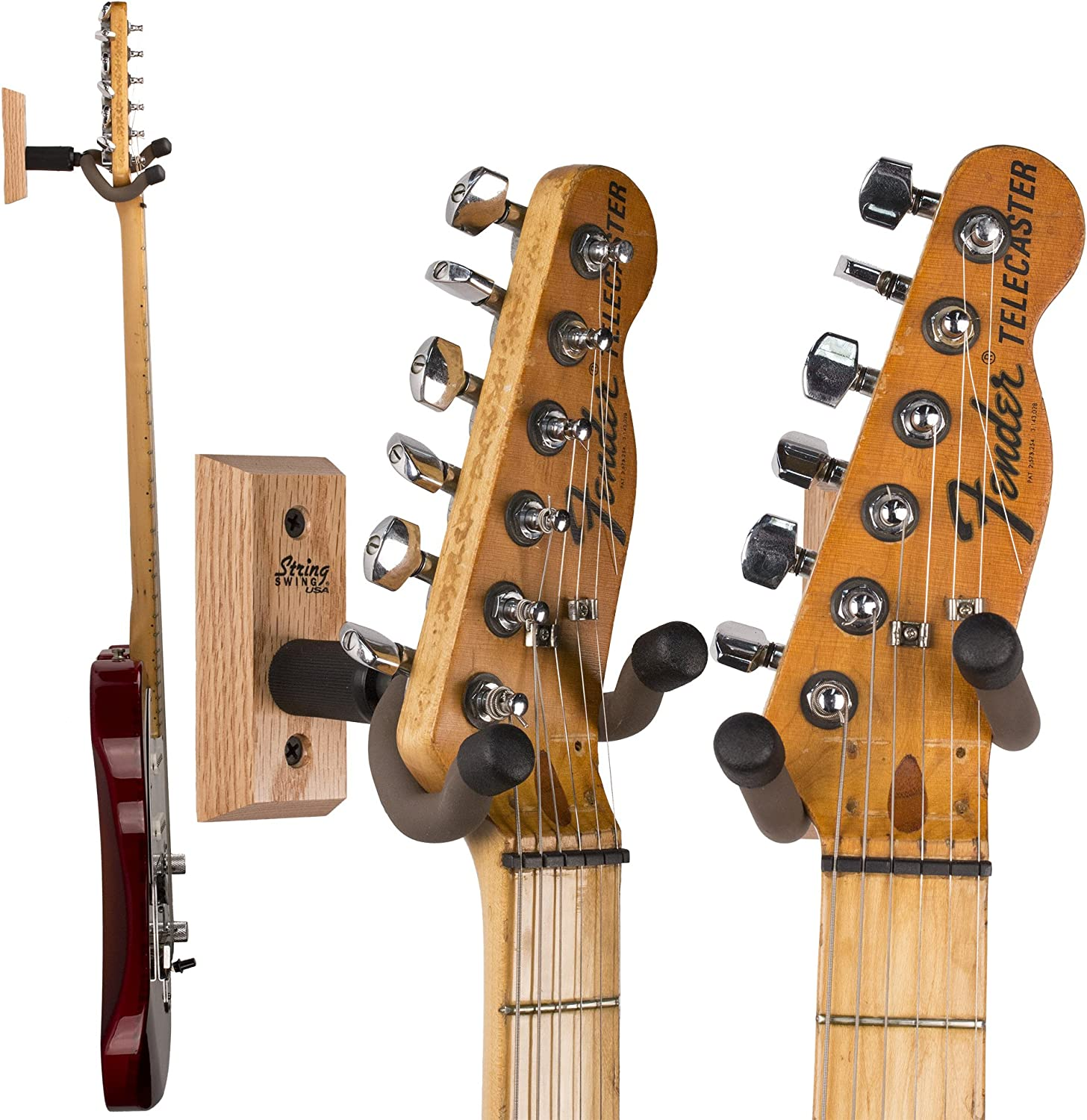 3 Pack CC01K-O3 Oak String Swing Wall Mount Guitar Holder for Electric Acoustic and Bass Guitars Keeps Musical Instruments Safe without Hard Cases Stand Accessories for Home or Studio