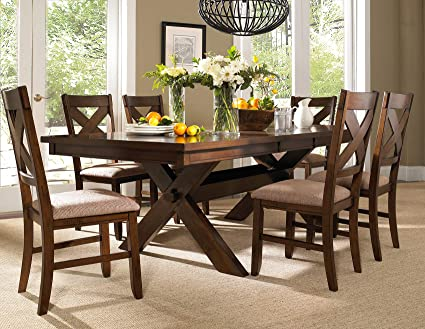 Superieur Roundhill Furniture Karven 7 Piece Solid Wood Dining Set With Table And 6  Chairs