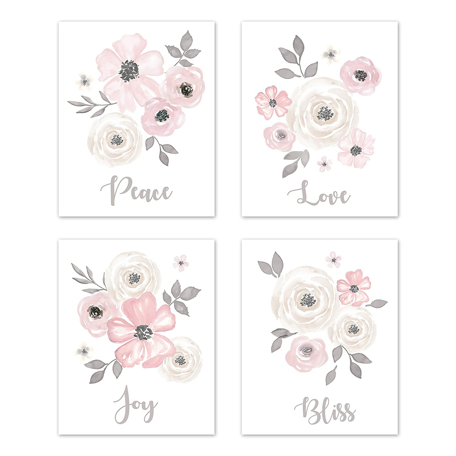 Sweet Jojo Designs Grey Watercolor Floral Wall Art Prints Room Decor for Baby, Nursery, and Kids - Set of 4 - Blush Pink Gray and White Shabby Chic Rose Flower Farmhouse