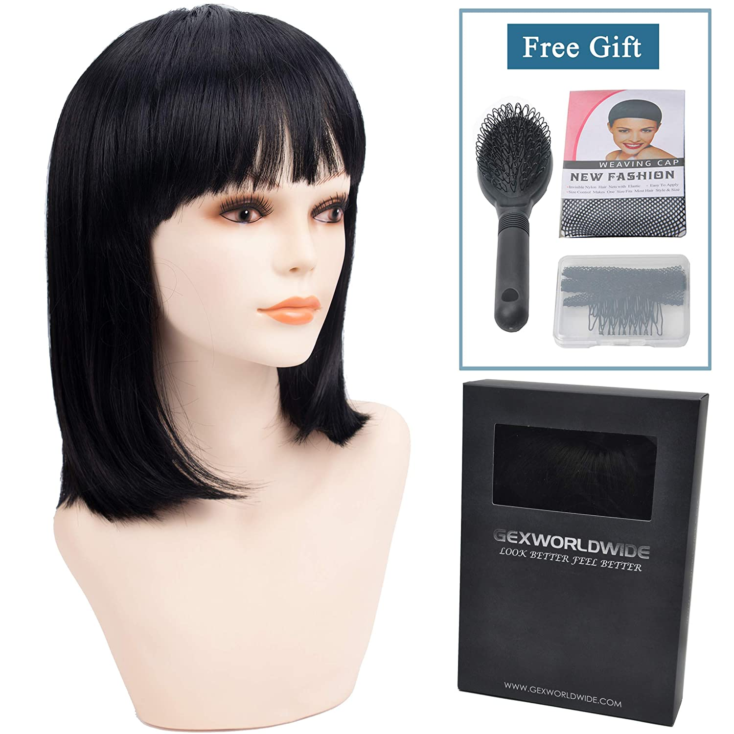Amazon.com   GEX Women s Synthetic Wig Straight Bob Kanekalon Girls Fiber  Full Wigs Like Real Human Hair for Daily Party Deep Black 12