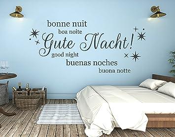 tjapalo® s-pkm252 Wandtattoo Schlafzimmer Wandaufkleber Wandsticker Gute  Nacht in vielen Sprachen (Breite 58 x Höhe26 cm)
