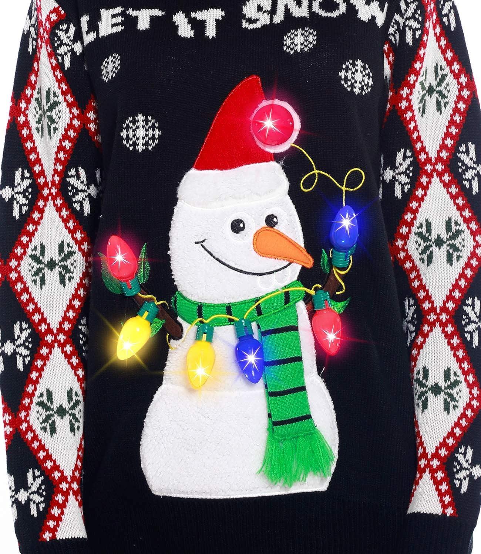 Snowman Santa Hat Ugly Sweater Knit Holiday Funny Sweatshirt Camlinbo Light Up Women/'s Christmas Sweater