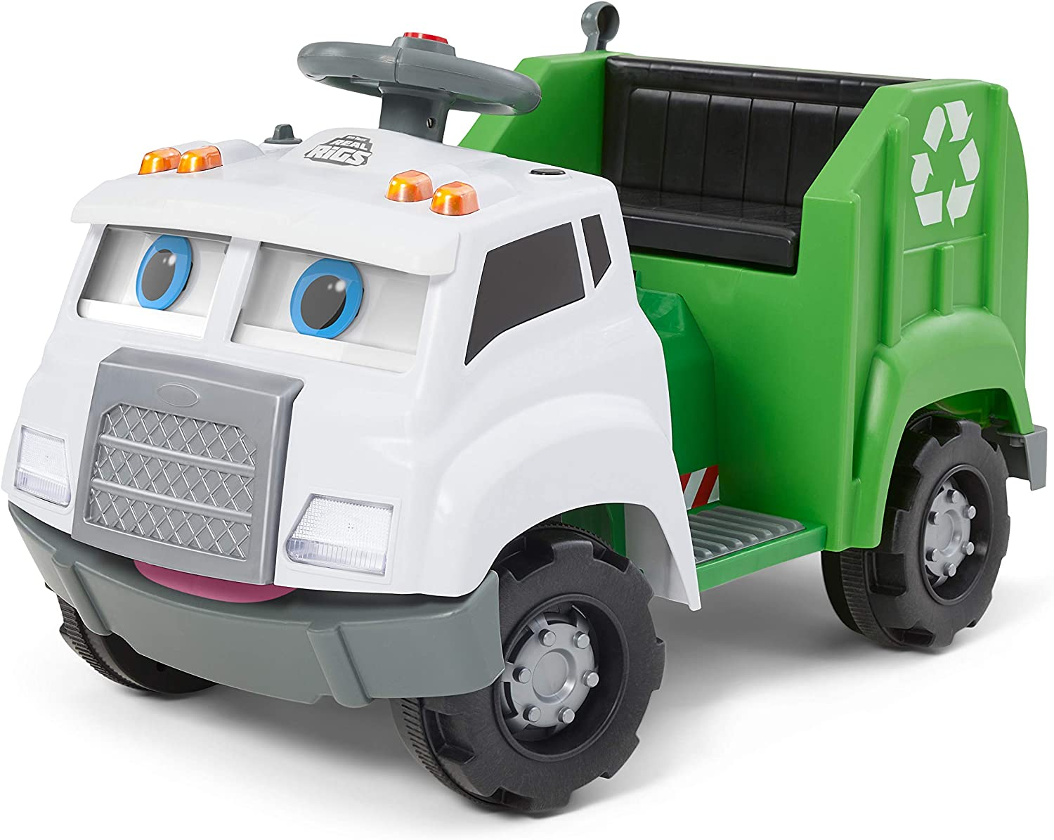Kid Trax Real Rigs Toddler Recycling Truck Interactive Ride On Toy, Kids Ages 1.5-4 Years, 6 Volt Battery and Charger, Sound Effects, 9 Recycling Accessories Included (KT1535TG) , Green