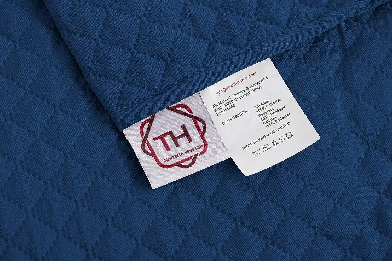 textil-home Funda Cubre Sillón Relax Adele, Tamaño 1 Plaza -Protecto Sofá Acolchado Reversible. Color Azul