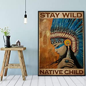 Retro Posters 80s Stay Wild Native Child Poster African American Wall Decor Native Girl Art Print Black Queen Artwork Native American Women Print Poster