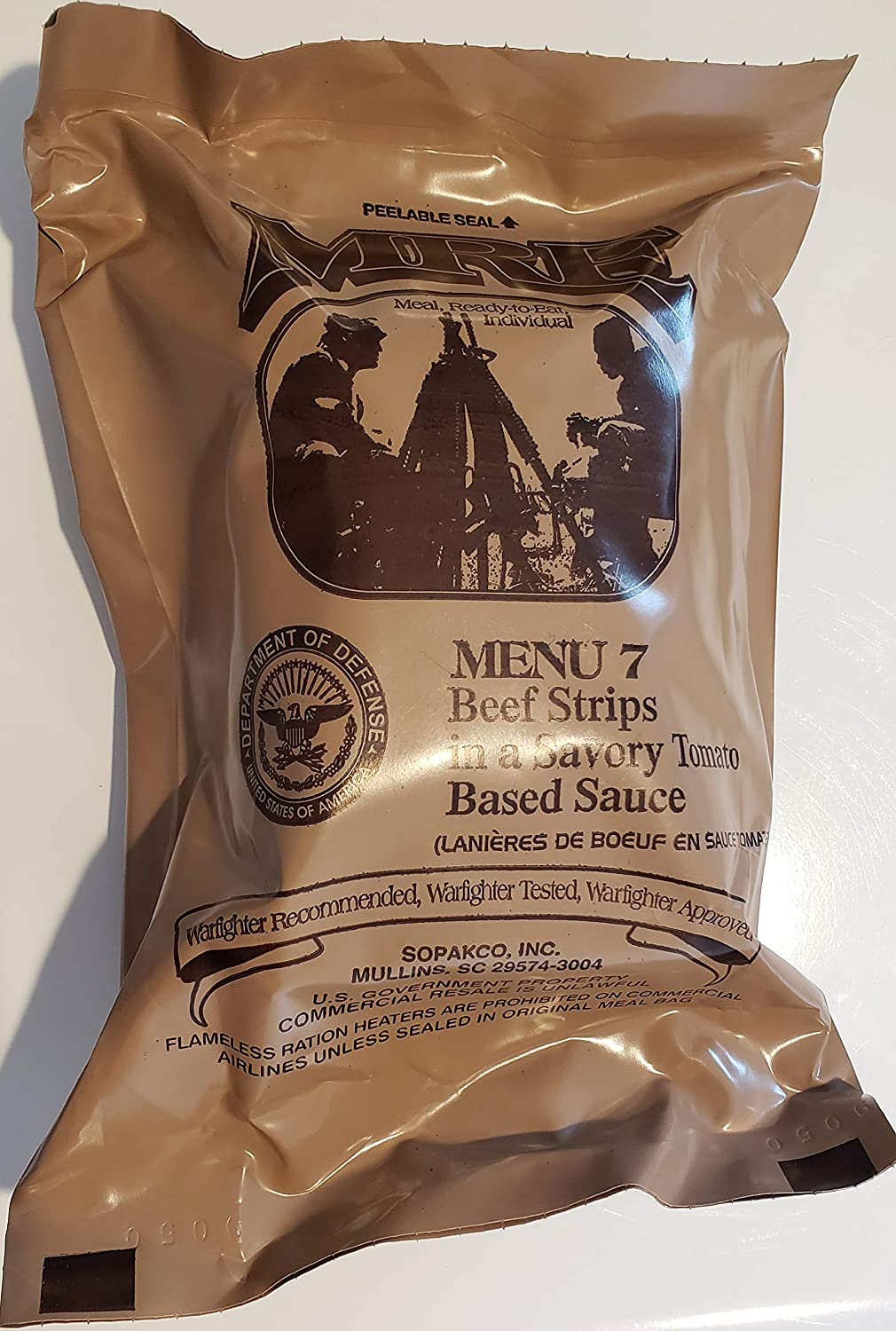Genuine Military MRE Meal with Inspection Date 2022 or Newer (Beef Strips} Meal 7 Meals Ready To Eat