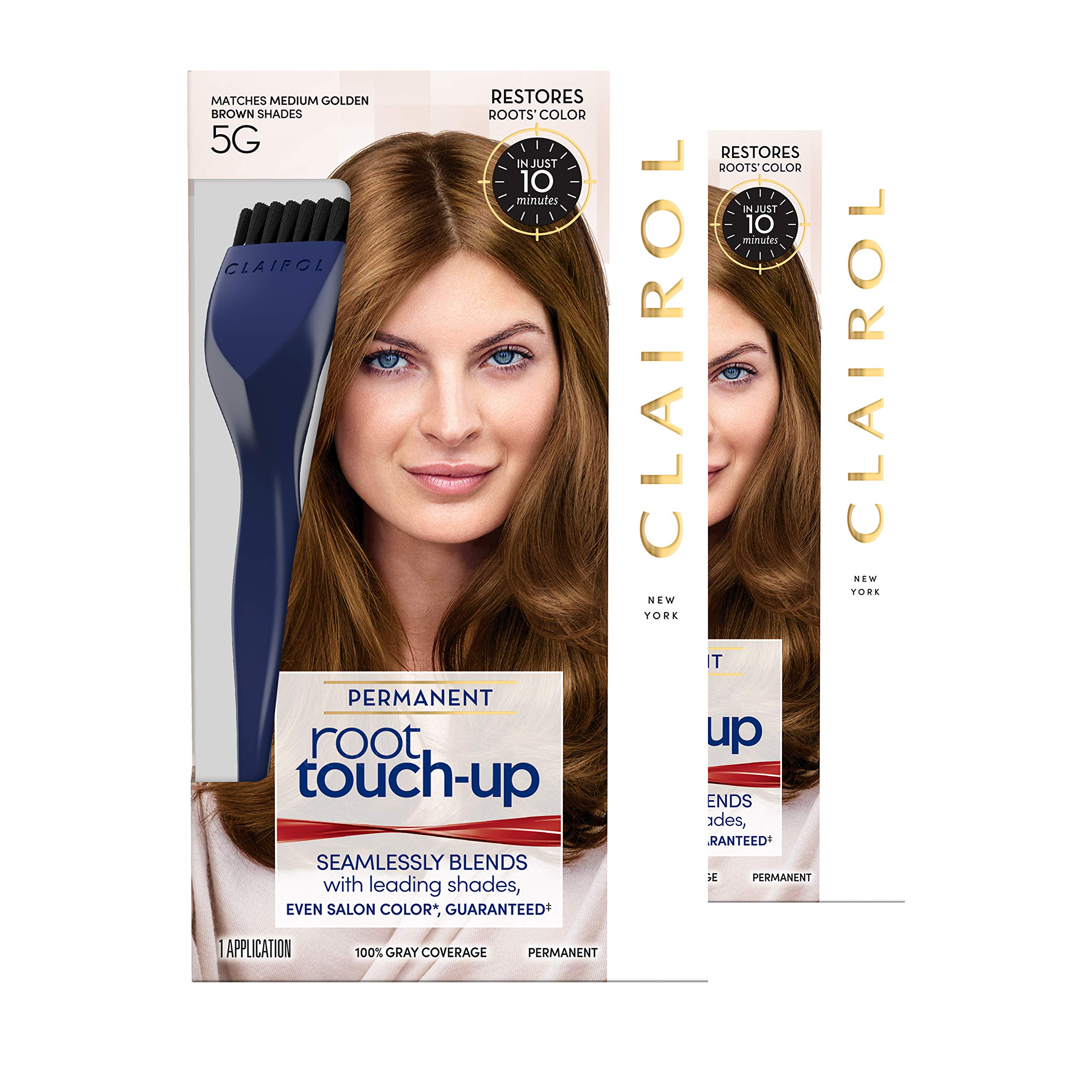 Clairol Root Touch-Up Permanent Hair Color Creme, 5G Medium Golden Brown, 2 Count by Clairol