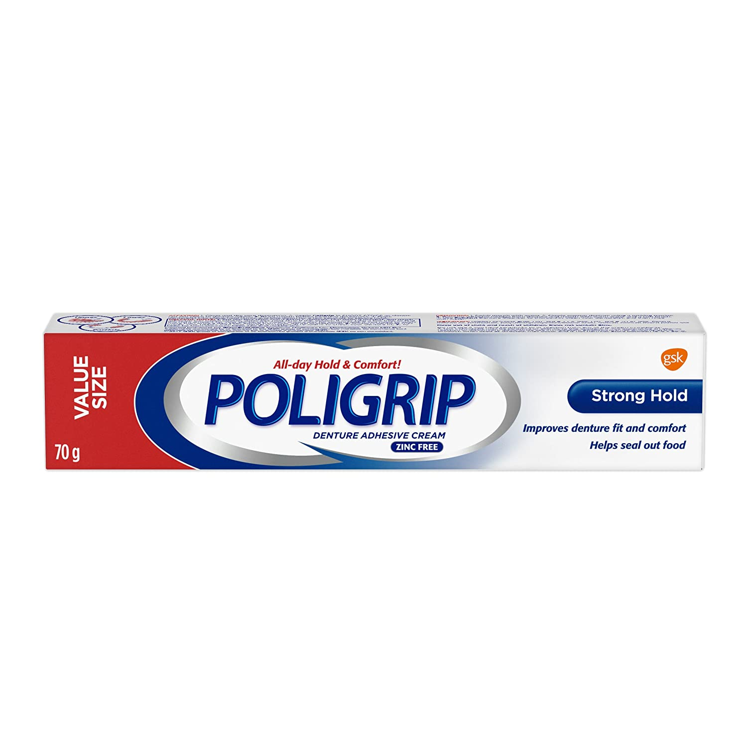 Poligrip Strong Hold Denture Adhesive Cream, 70g GSK Consumer Healthcare