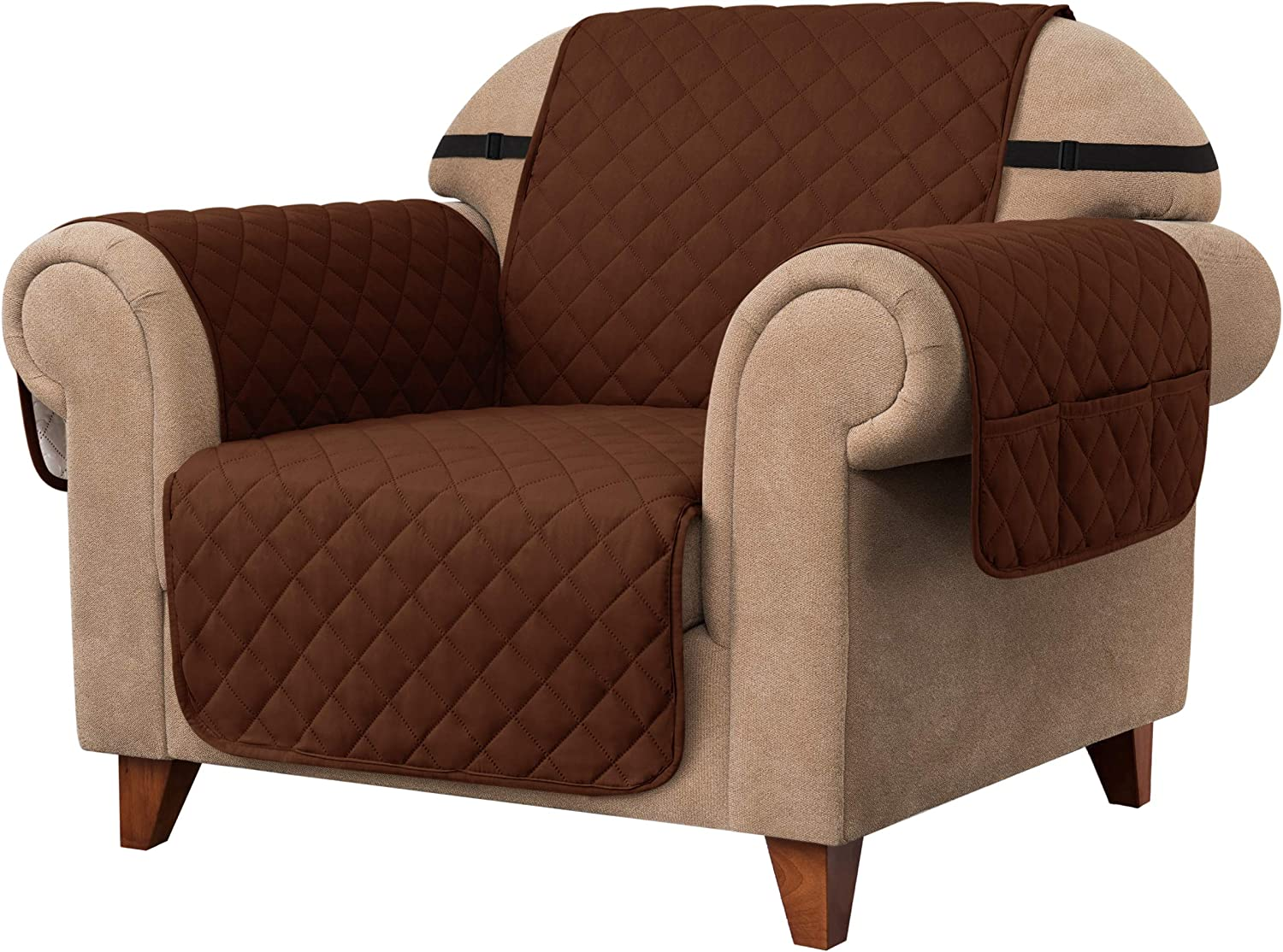Ouka Reversible Sofa Slipcover, Fabric 1-Piece Furniture Protector with Elastic Straps,Non-Slip Sofa Cover for Pets and Kids. (Chair, Chocolate)
