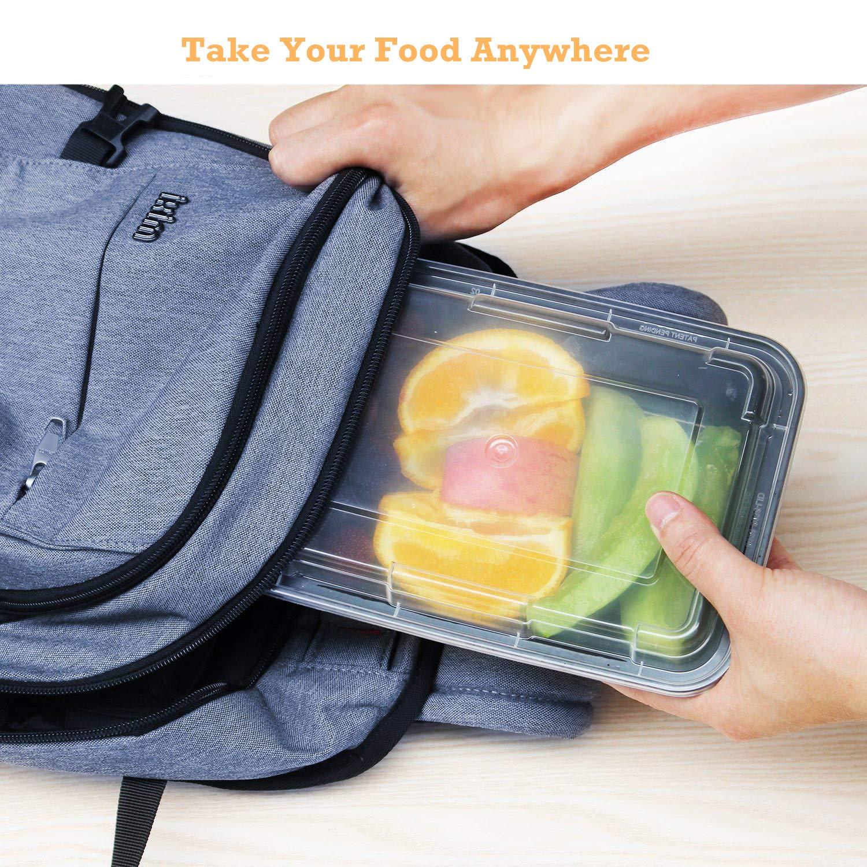 1000 ml di Contenitori Alimentari con Coperchi per Il Cibo Riutilizzabili BPA Congelatore e Lavastoviglie Microonde HENSHOW Contenitori Alimentari 1 Scomparti Set di 20 Pezzi