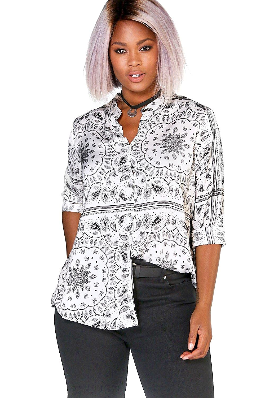 White Womens Plus Hannah Silky Paisley Collarless Shirt