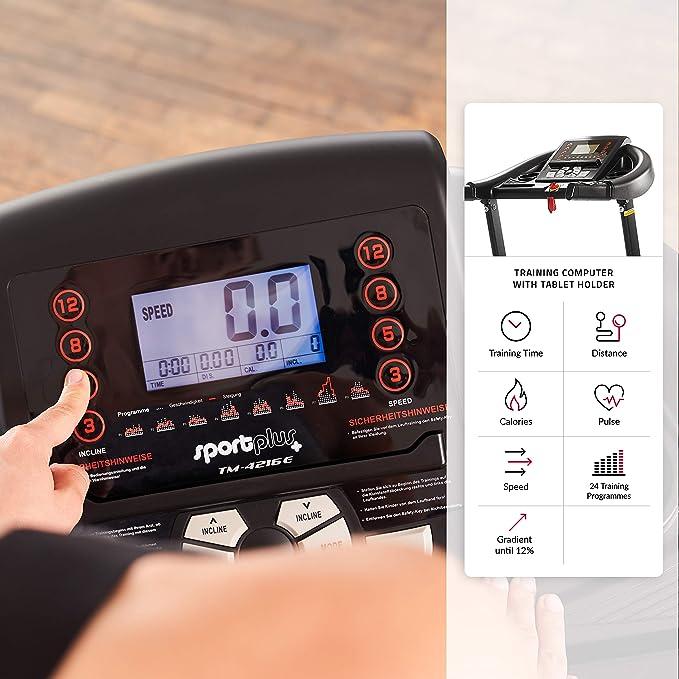 SportPlus Cinta de Correr 16 km/h con Ajuste de inclinación ...