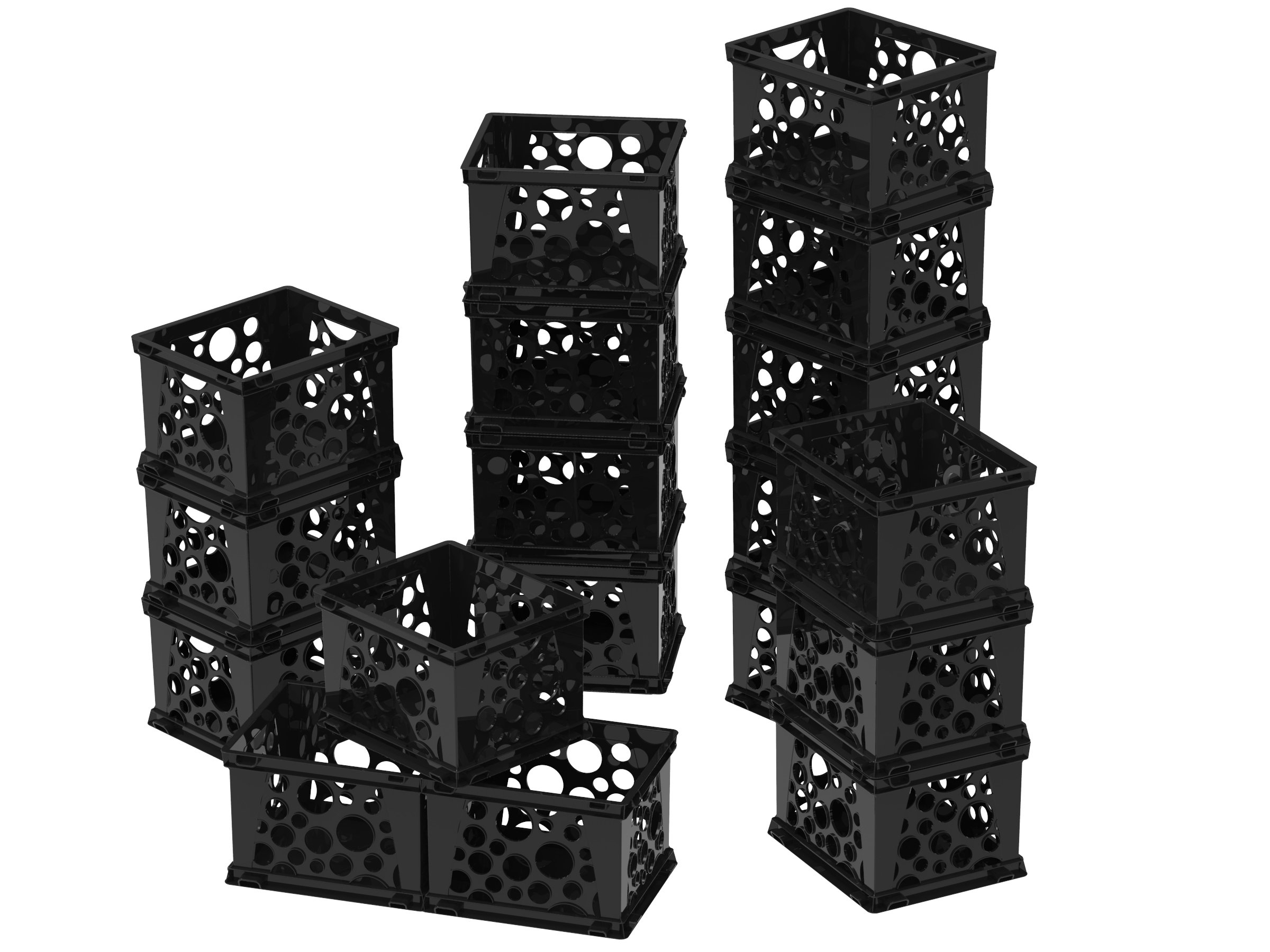 Storex Micro Crate, 6.75 x 5.8 x 4.8'', Black, Case of 18 (63101U18C)