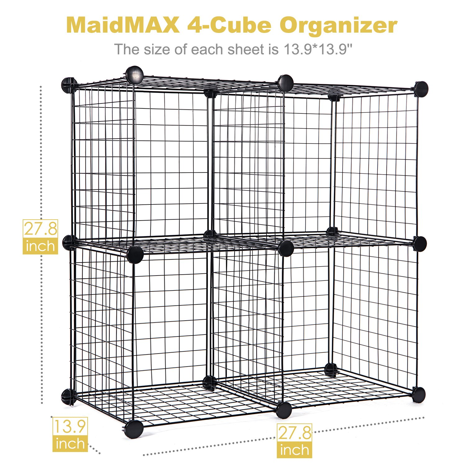 Amazon.com: Wire Storage Cubes, MaidMAX Free Standing Modular Shelving  Units Closet Organization Systems, 4 Grids With 2 Wire Dividers, Black:  Home U0026 ...