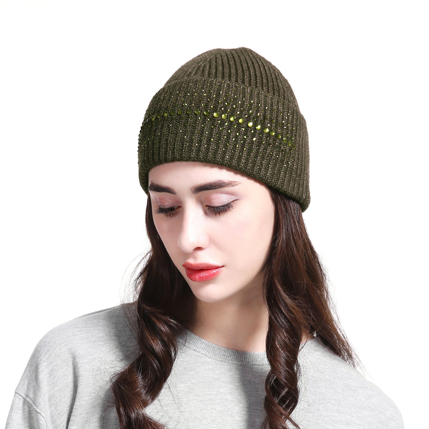 81a527b19ec JOOWEN Women s Wool Knit Fold Over Beanie Embellished with Rhinestones  Winter Hat (Black) at Amazon Women s Clothing store