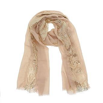 FASHIONGEN - Echarpe femme douce imitation coton à sequins ELYNN - Blanc   Amazon.fr  Vêtements et accessoires 829caad1620