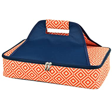 Picnic at Ascot Insulated Casserole Carrier to keep Food Hot or Cold- Orange/Navy