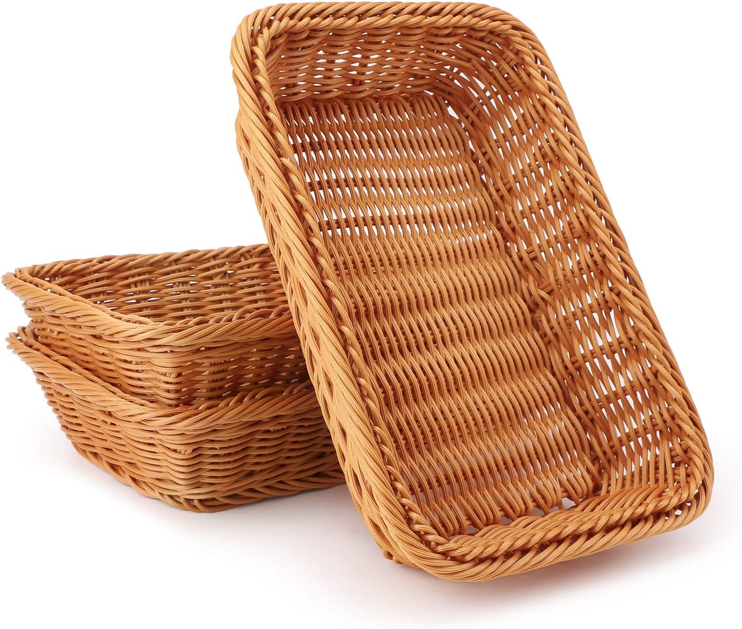 Wicker Bread Basket Eusoar 11 8 X 7 9 X 2 4 3pcs Tabletop Food Serving Baskets Trays Bread Proofing Basket Food Fruit Vegetables Sundries Storage Basket For Restaurant Bakery Family Party Home Improvement