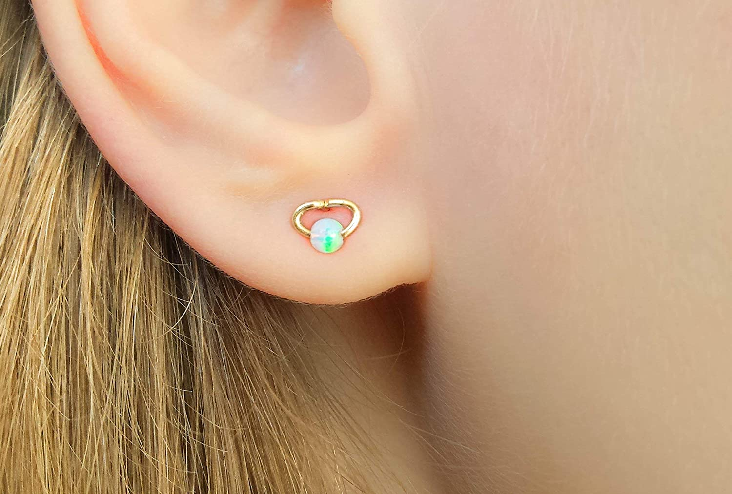 White Opal Earrings Small Studs Gold Filled Jewelry Handmade