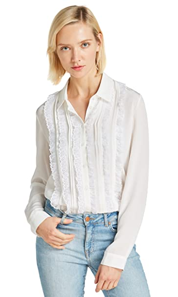 Lilysilk Blusa de Mujer con Encaje Retro 100% Seda Natural 18MM, Blanco Natural XS
