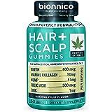 60 Hair Loss Gummies with Hemp-Biotin-Collagen-Zinc-Folic Acid // Hair Loss and Scalp Stimulating Formula – Scientifically formulated for Hair Regrowth, Hair Thickening and Scalp Skin Health.