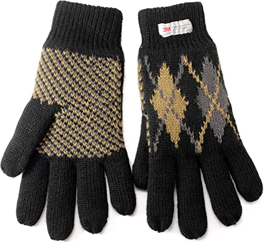 1 Pair Mens Thinsulate 3M Lined Thermal Winter Gloves Black