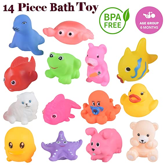 WISHKEY Chu Chu Colorful Animal Shape 14 Pcs Squeeze Bath Toys