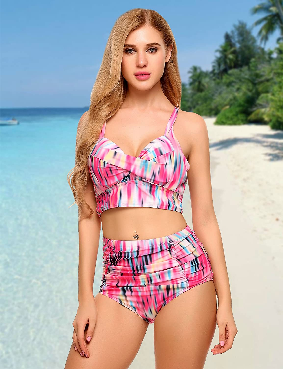 4062692a7c EASTHER Women Sexy High Waist Two Piece Floral Bikini Front Cross Swimsuit  at Amazon Women s Clothing store