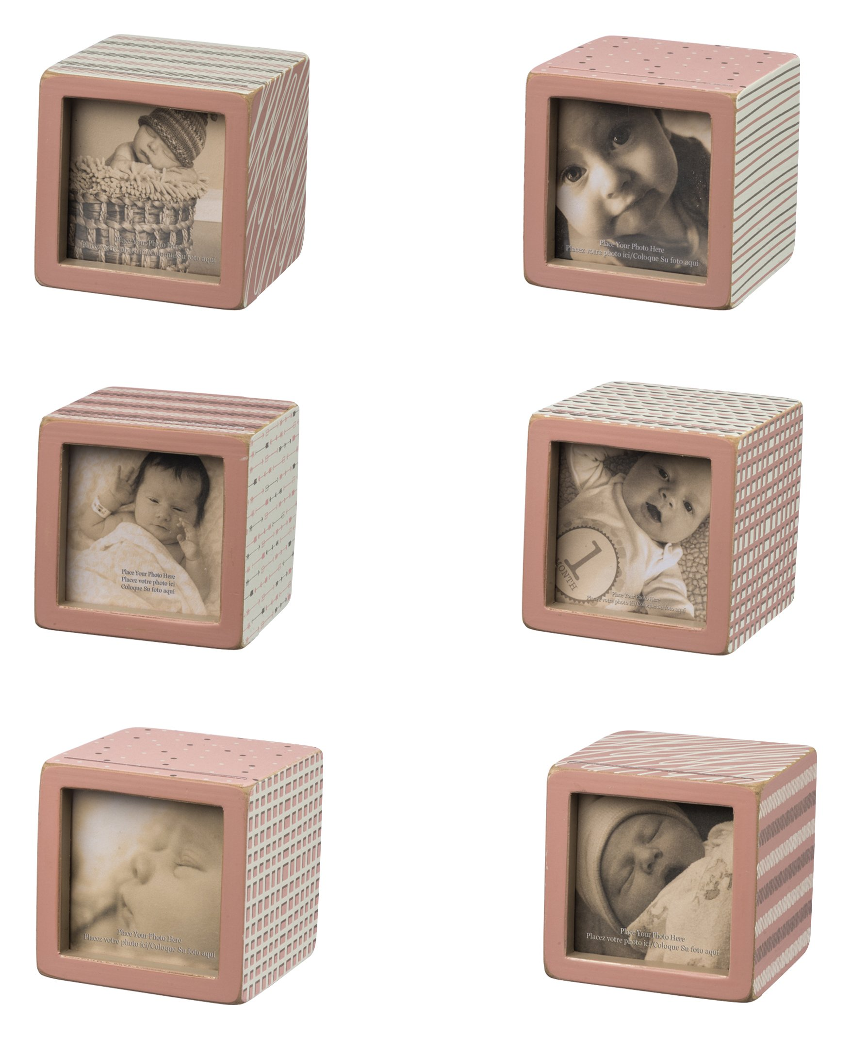 Primitives by Kathy Photo Block, Set of 6, Baby Pink Pattern
