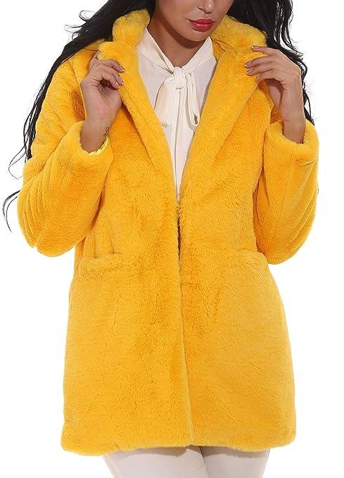 Hishoes Damen Mantel Winter Kunstfell Jacke Parka Elegant Warm Faux Fur Mäntel Coat