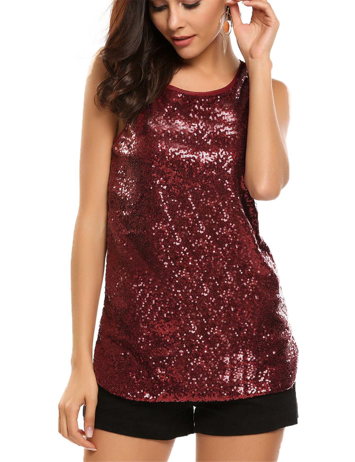 Zeagoo Women's Sleeveless Sparkle Shimmer Camisole Loose Sequined Vest Tank Tops, 1-dark Red, Medium