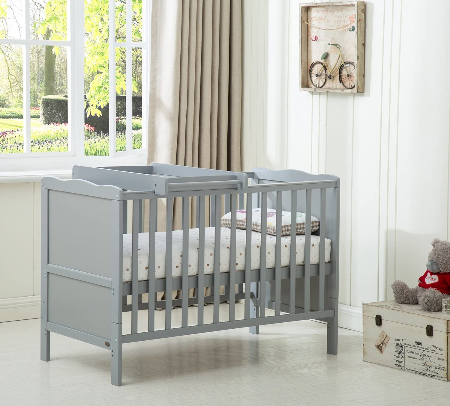MCC Grey Wooden Baby Cot Bed /& Drawer /& Aloe Vera Water Repellent Mattress Orlando /…