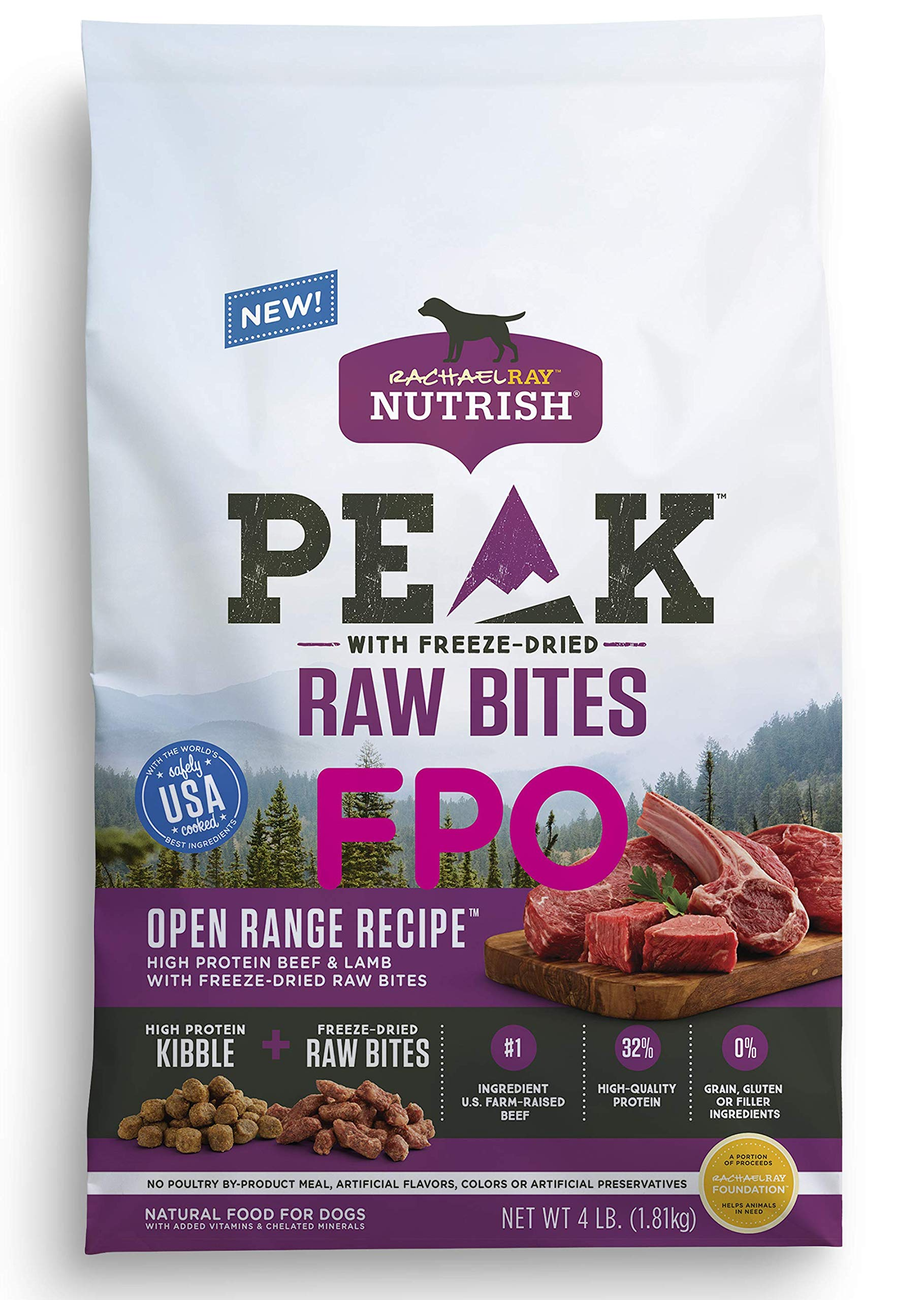Rachael Ray Nutrish Peak Natural Dry Dog Food with Freeze Dried Raw Bites, Open Range Recipe with Beef & Lamb, 4 Pounds, Grain Free