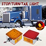 Partsam 2pcs Pedestal Dual Face Fender Stop Tail Light 52 LED Trailer Amber/Red Marker Lights