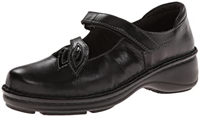 Naot Women's Primrose Mary Jane Flat,Black Madras Leather/Black Crinkle  Patent Leather,