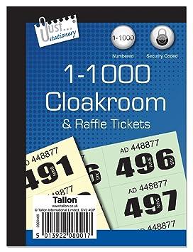 Just Stationery - Tickets para guardarropa (del 1 al 1000): Amazon.es: Oficina y papelería