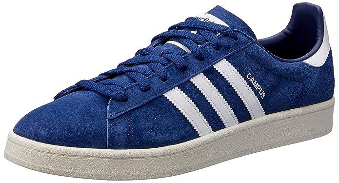 Blaue Herren adidas Campus Schuhe mit weißen Streifen