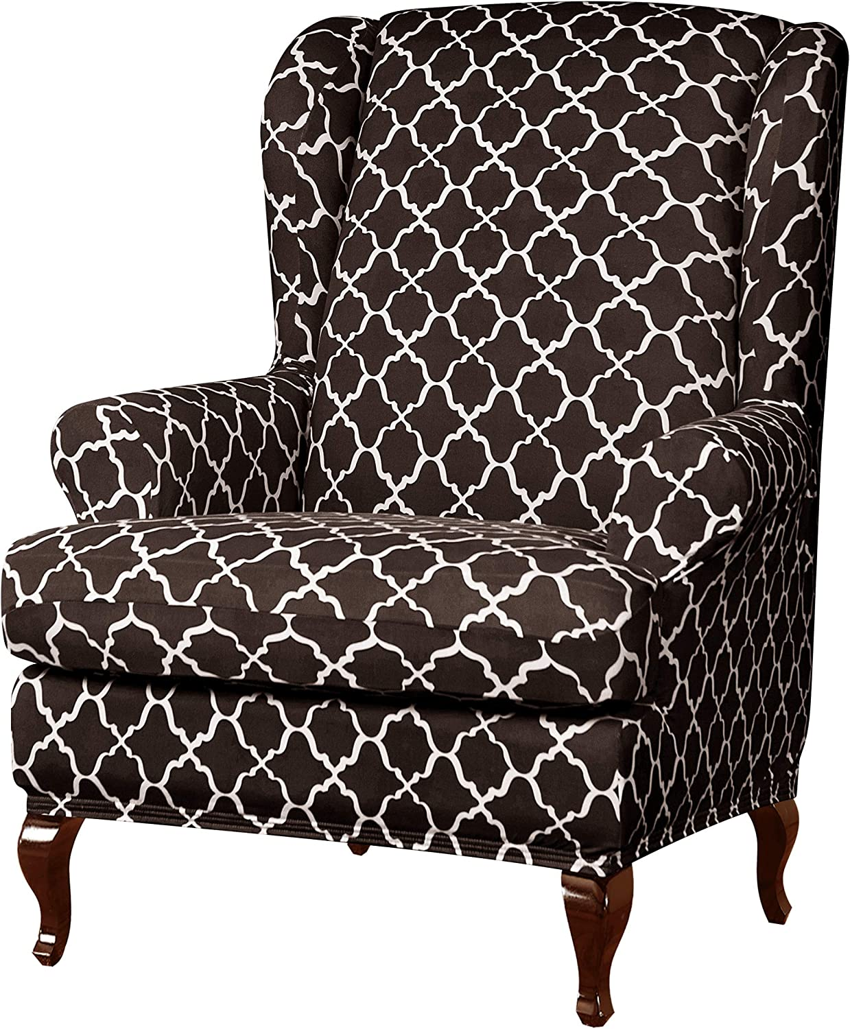 subrtex Wingback Chair Slipcovers Wing Chair Armchair Covers Detachable Spandex Printed Sofa Covers Furniture Protector (Coffee)