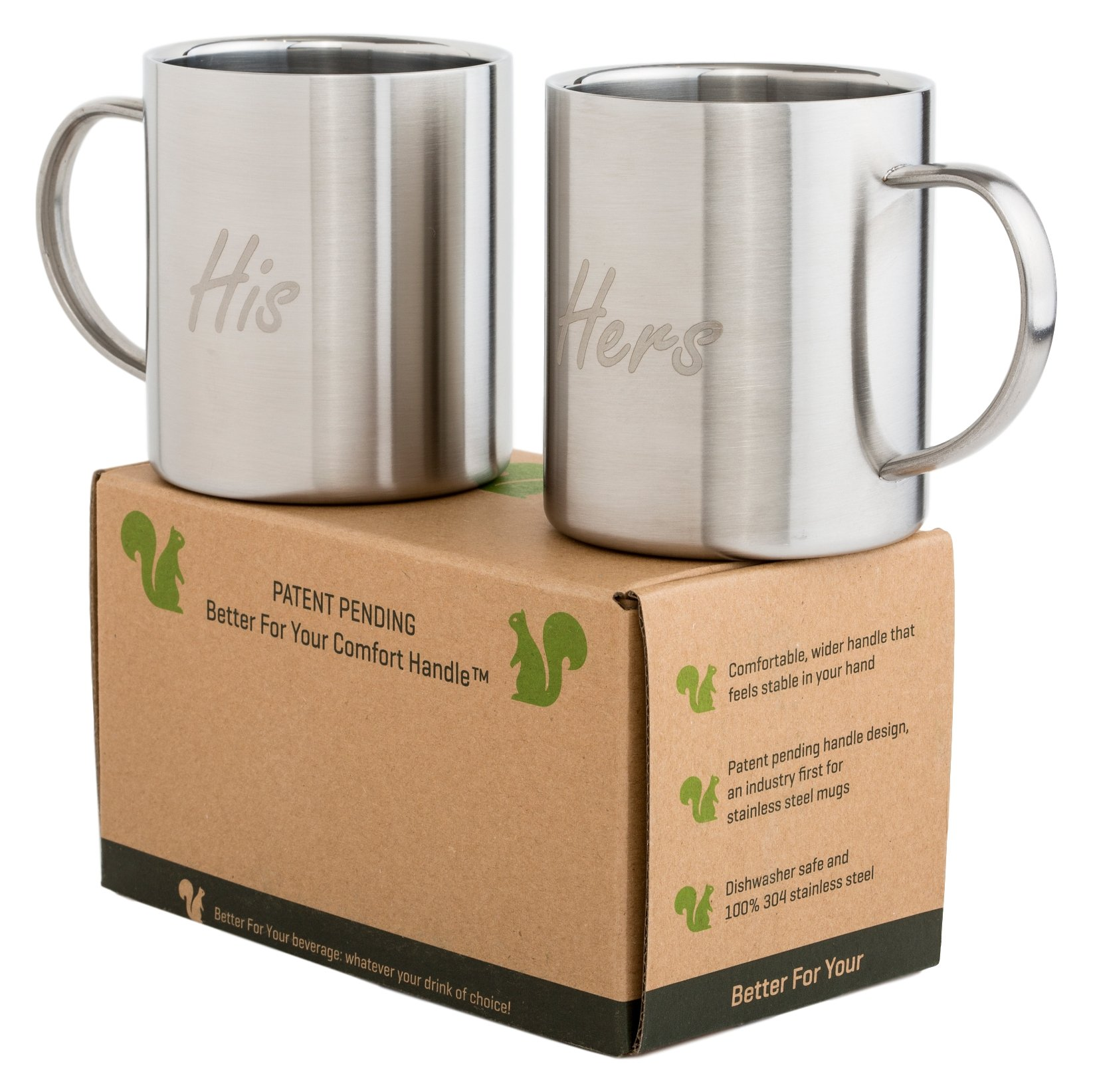 Coffee Mugs His & Hers Stainless Steel - Oval Handle for Best Comfort - Double Wall 13.5oz Metal Coffee Mug Tea Cup - for Home Camping Outdoors RV Gift - Shatterproof Dishwasher Safe