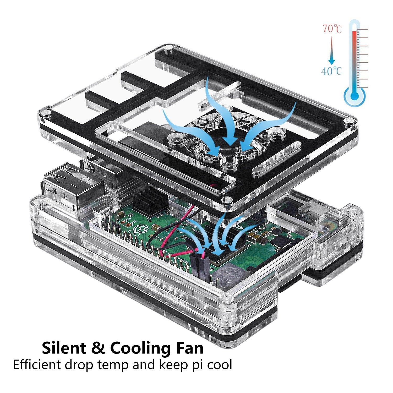 Heatsinks Smraza Raspberry Pi 3 B ... 2.5A Power Supply Wood Case with Fan