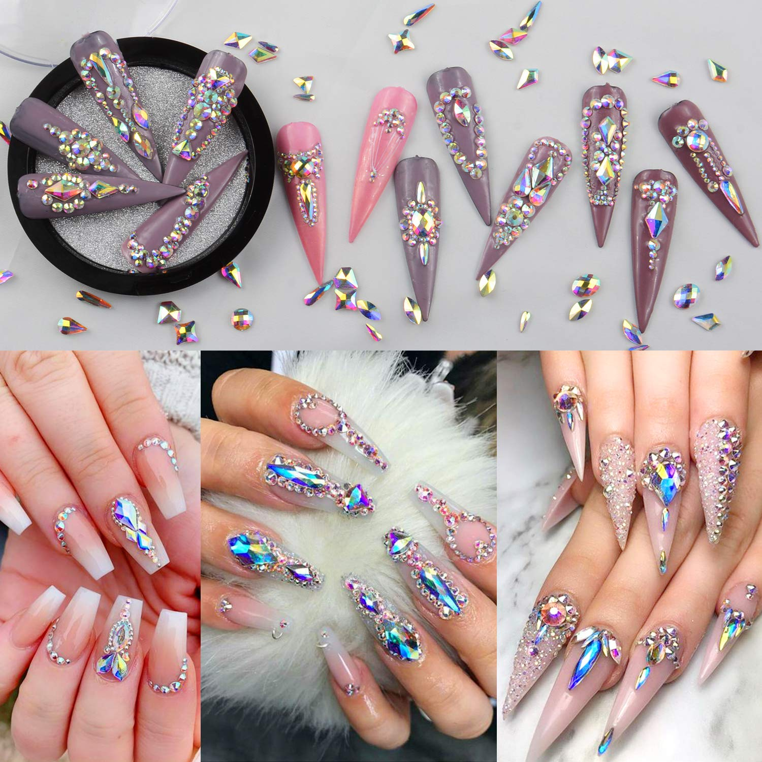 Review about 1840pcs Rhinestones Nail Art Set Nail Gems Iridescent Clear Class Multi Shape Flat Back Shiny Nail Jewels for Nail Art DIY Crafts Phones Clothes Shoes Jewelry Bag