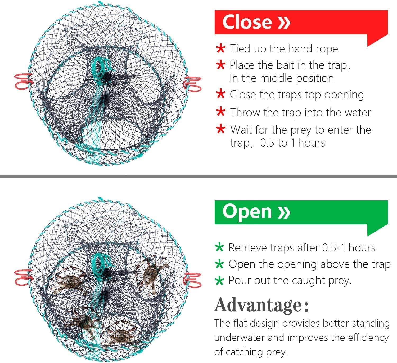 Fishing Bait Foldable Net Cast Dip Cage for Crab Fish Minnow Crawdad Shrimp FFNIU Crab Trap