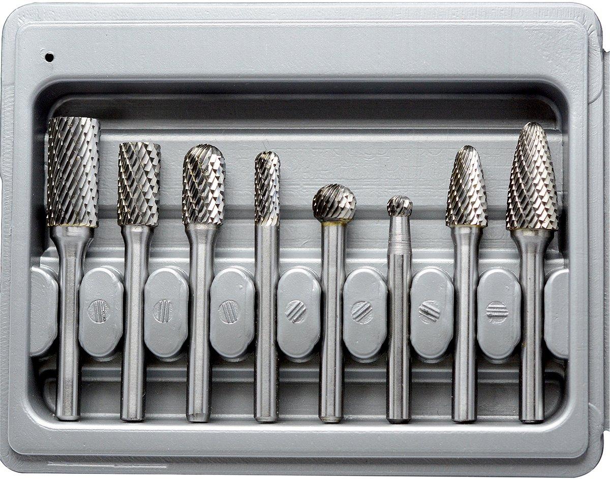 KOTVTM 8Pcs Double Cut Solid Carbide Rotary Burr Set 1/4 Inch 6mm Shank Carbide Burrs Fits Grinder Drill,Die Grinder,Cutting Burs,Metal Polishing