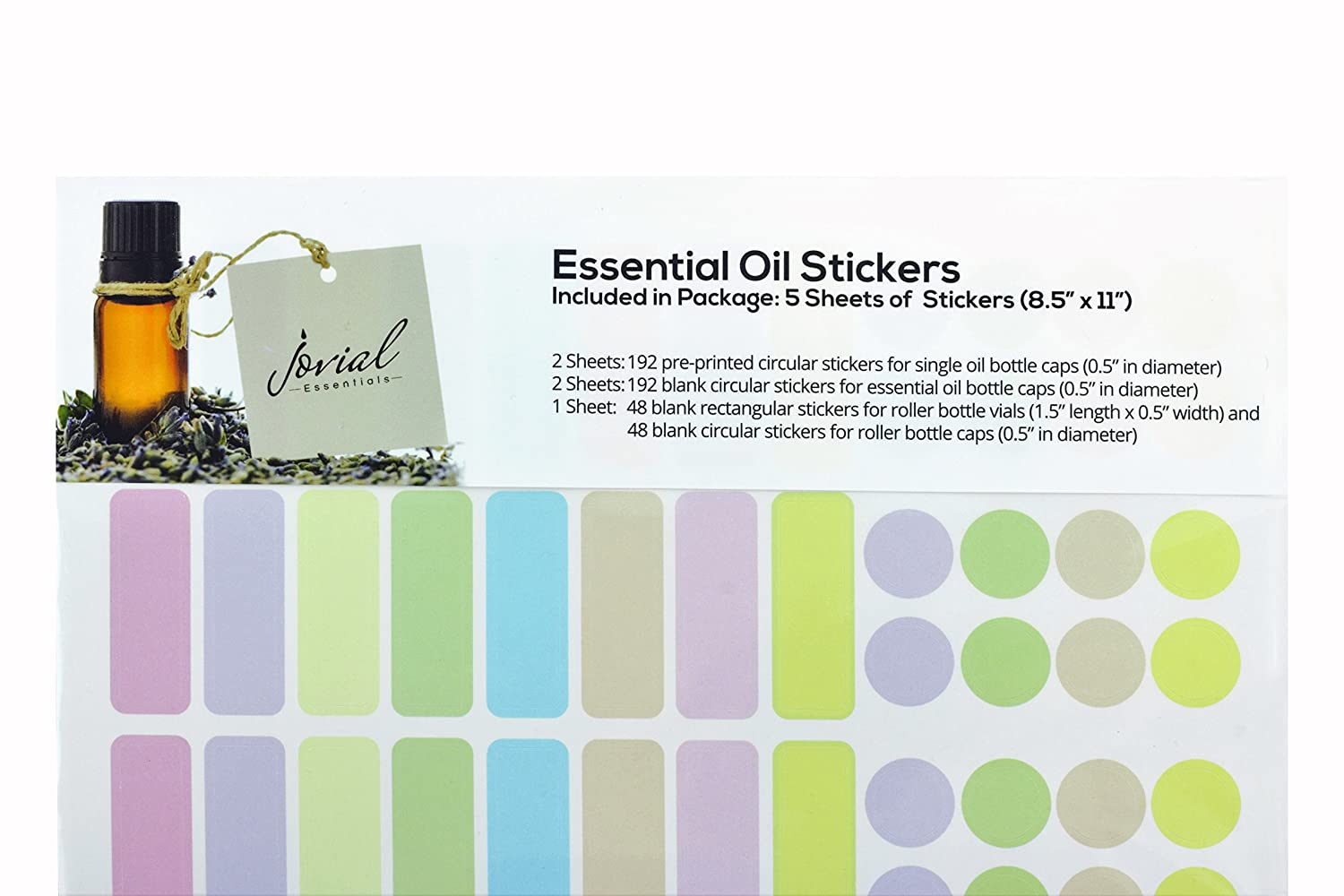 Premium Essential Oil Stickers, 5 Sheets of 864 Stickers by Jovial Essentials, Original Design, Oil and Water Resistant Essential Oil Bottle Cap Pre-Printed and Blank Sticker Labels