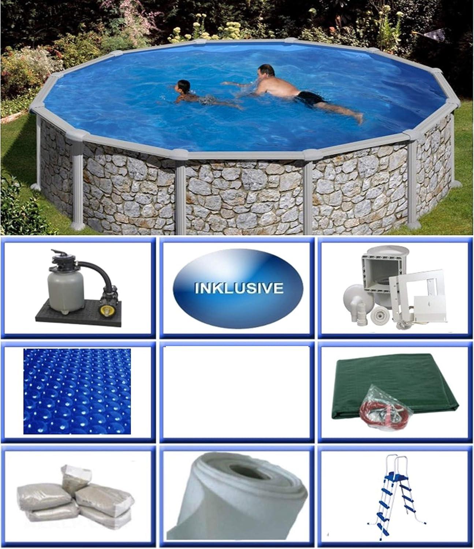 SummerFun Grandy - Juego de Piscinas de Pared de Acero con Aspecto de Piedra, Redondas, diámetro de 3,50 m x 1,20 m, lámina de 0,3 mm, Piscina Redonda de 350 x 120 cm