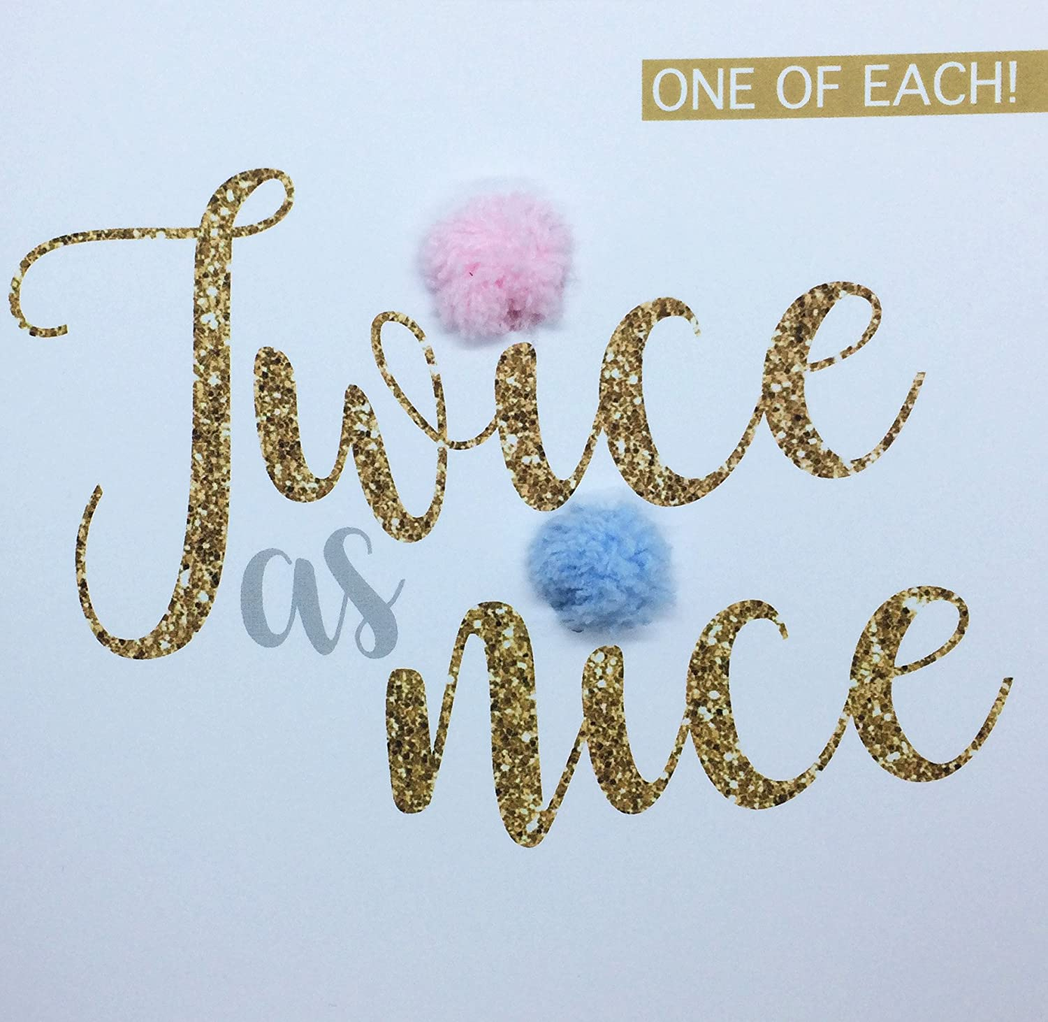 'One of Each, Twice as Nice!' Twins Birth Congratulations Card, boy and Girl, Hand Finished with a Pink and Blue Pompom 'One of Each PUSHING THE ENVELOPE